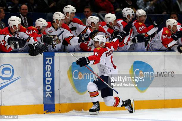 Ville Koistinen of the Florida Panthers celebrates as he scores the decisive penalty in the shoot out against the Chicago Blackhawks during The...
