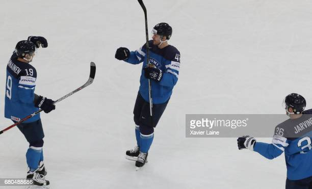 Ville Lajunen of Finalnd celebrate a goal with Veli-Matti Savinainen during the 2017 IIHF Ice Hockey World Championship game between Finland and...