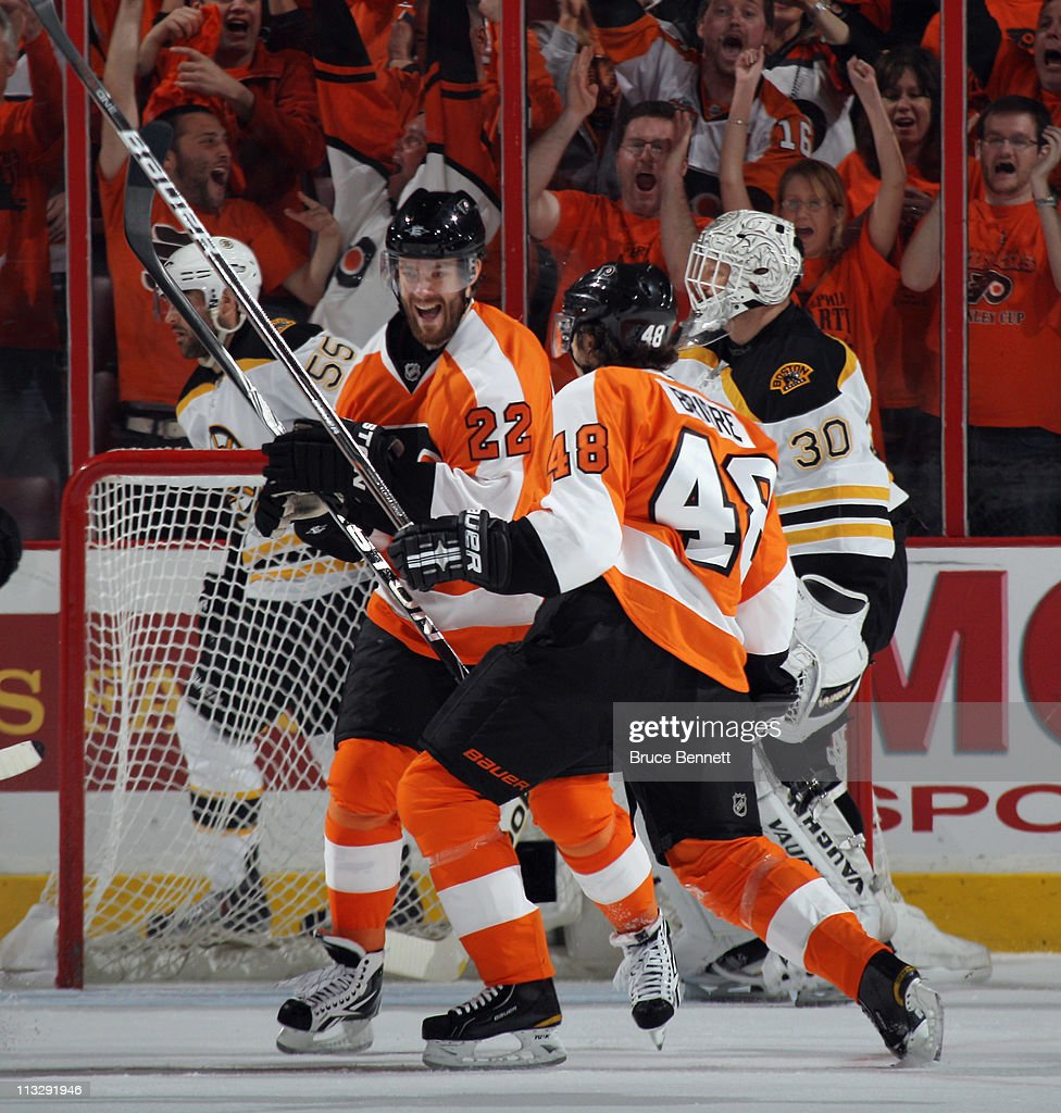 Ville Leino #22 and Danny Briere #48 of the Philadelphia Flyers celebrate Briere's first period goal against the Boston Bruins in Game One of the Eastern Conference Semifinals during the 2011 NHL Stanley Cup Playoffs at the Wells Fargo Center on April 30, 2011 in Philadelphia, Pennsylvania.