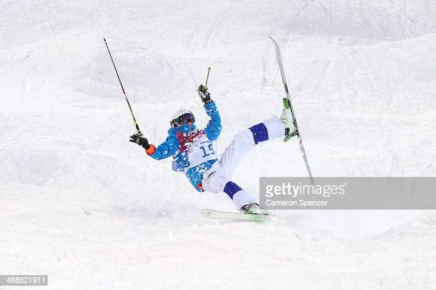Ville Miettunen of Finland crashes out in the Men's Moguls Qualification on day three of the Sochi 2014 Winter Olympics at Rosa Khutor Extreme Park...