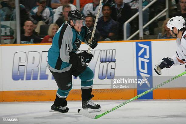 Ville Nieminen of the San Jose Sharks skates during Game 2 of the Western Conference Semifinals against the Edmonton Oilers on May 8, 2006 at the HP...