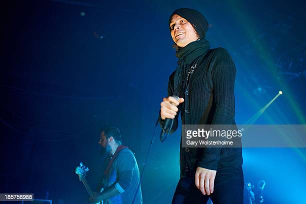 Ville Valo of HIM performs on stage at Manchester Academy on October 24 2013 in Manchester England