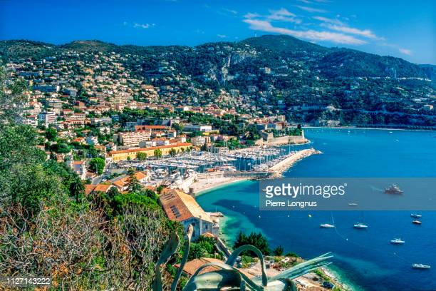 villefranche sur mer and its bay on the french riviera - alpes maritimes stock pictures, royalty-free photos & images