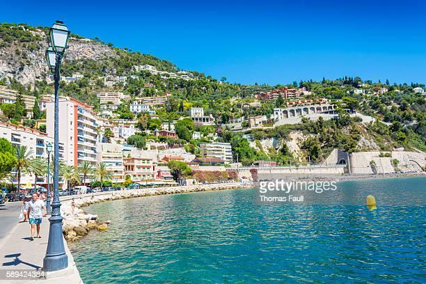 villefranche-sur-mer quay, france - saint jean cap ferrat stock pictures, royalty-free photos & images