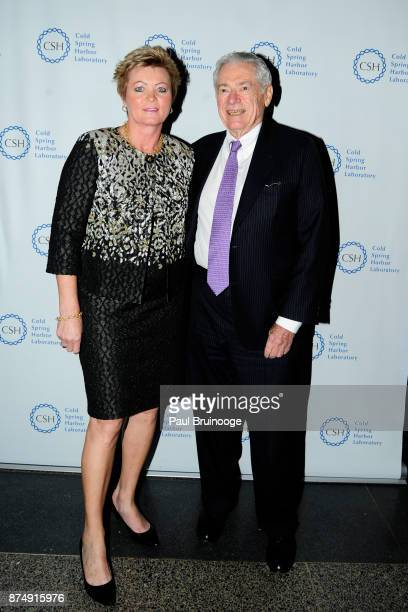 Vilma Carrey and Ed Matthews attend the Cold Spring Harbor Laboratory Double Helix Medals Dinner at the American Museum of Natural History Street on...