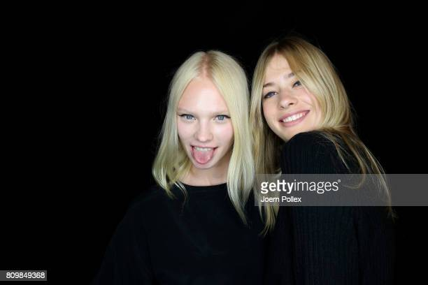 Vilma Sjoeberg is seen with another model backstage ahead of the Dorothee Schumacher show during the MercedesBenz Fashion Week Berlin Spring/Summer...