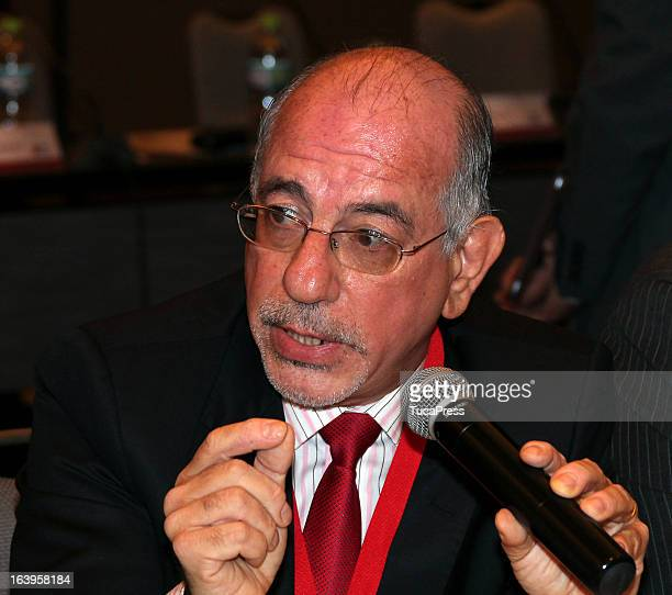 Vilmar Coutinho Junior talks during the presentation of the XV Gimnasiada 2013 as part of XIX Sports Minister of America and Iberoamerica Meeting...