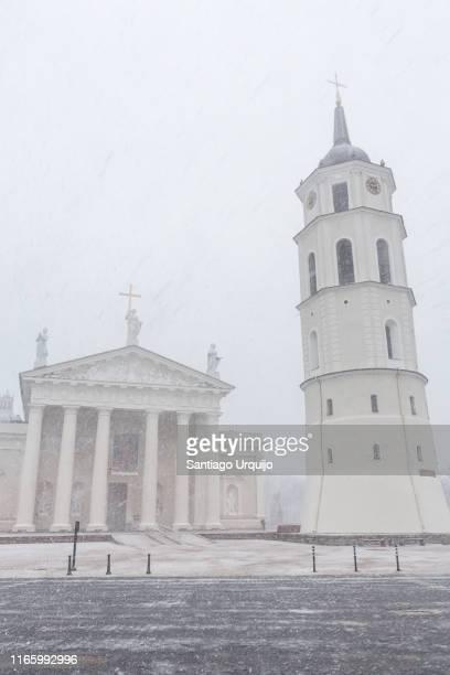 vilnius cathedral under the snow - lituania fotografías e imágenes de stock