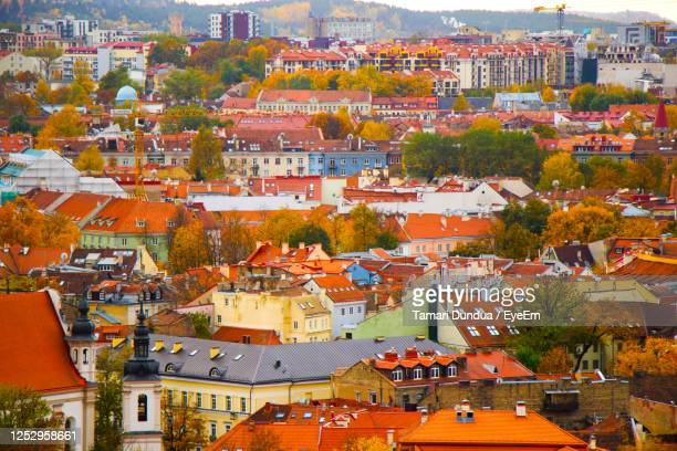 vilnius city view, lithuania. old town and city center. urban scene. old famous buildings - lithuania stock pictures, royalty-free photos & images