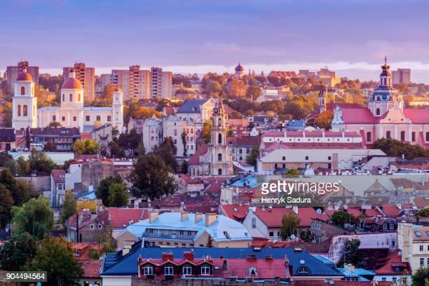 vilnius, lithuania, cityscape at sunrise - vilnius stock pictures, royalty-free photos & images