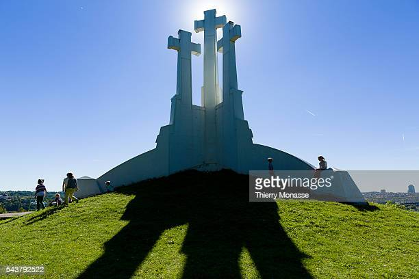 Vilnius Lithuania September 8 2013 Three Crosses is a monument in Vilnius Lithuania designed by Polish–Lithuanian architect and sculptor Antoni...