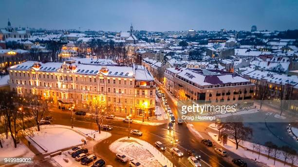 vilnius night street scene architecture snowy city view cityscape - lithuania stock pictures, royalty-free photos & images