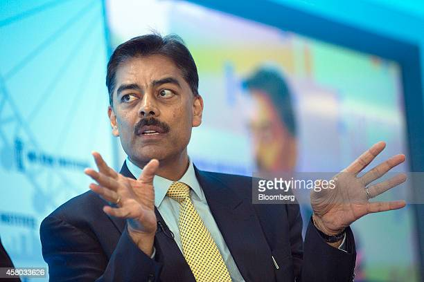 Vimal Shah chief executive officer of Bidco Group speaks during the Milken Institute London summit in London UK on Tuesday Oct 28 2014 The summit...