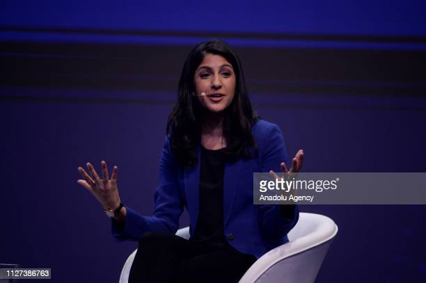 Vimeo Anjali Sud gives a speech during the first day at the Mobile World Congress 2019 in Barcelona Spain on February 25 2019