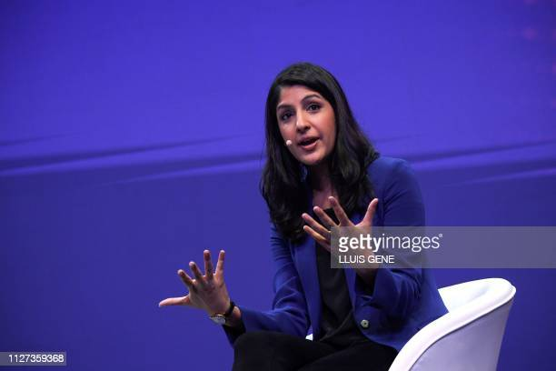 Vimeo chief executive officer Anjali Sud speaks at the Mobile World Congress in Barcelona on February 25 2019 Phone makers will focus on foldable...