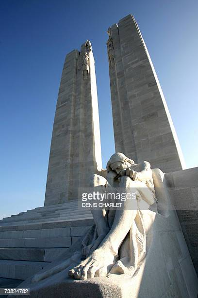 A picture taken 06 April 2007 in Vimy northern France shows the newly restored Canadian National Vimy Memorial dedicated to the 3598 Canadian...