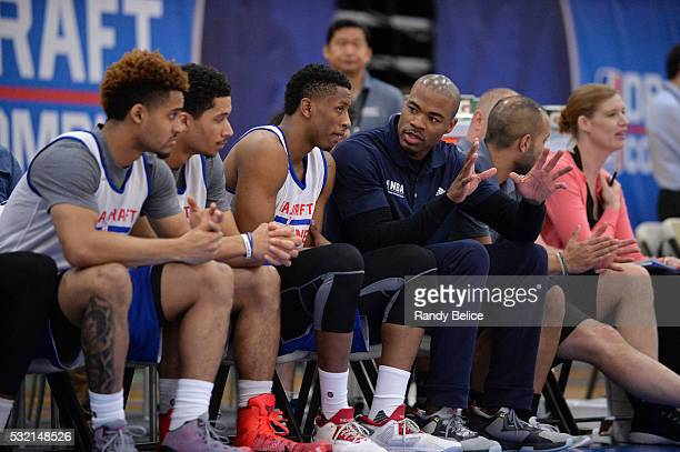05f38cdae346 Vin Baker coaches participants during the 2016 NBA Draft Combine on May 13  2016 at the