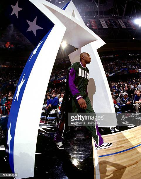 Vin Baker of the Eastern Conference AllStars walks out onto the floor as he is introduced prior to the 1997 NBA AllStar Game on February 9 1997 at...