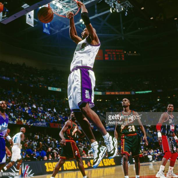 Vin Baker of the Milwaukee Bucks dunks the ball during the game during the 1997 NBA AllStar Game played on February 9 1997 at Gund Arena in Cleveland...