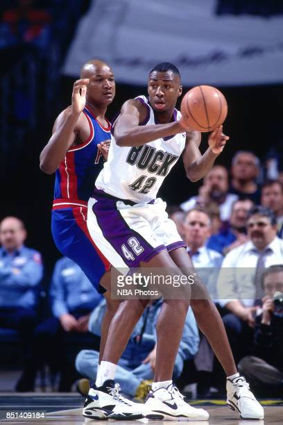 Vin Baker of the Milwaukee Bucks handles the ball against the Detroit Pistons on January 181994 at the Bradley Center in Milwaukee Wisconsin NOTE TO...