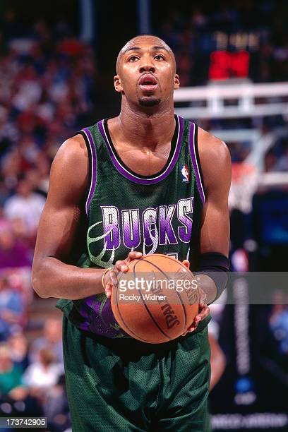 Vin Baker of the Milwaukee Bucks shoots a free throw against the Sacramento Kings during a game played on March 13 1996 at the Arco Arena in...