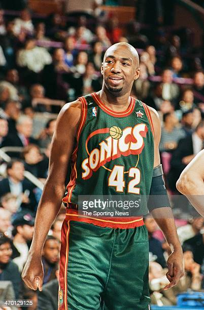 5b9228289d53 Vin Baker of the Seattle Supersonics during the 1998 NBA AllStar game on  February 8 1998