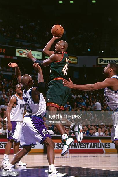 f627cec53f90 Vin Baker of the Seattle Supersonics shoots the ball circa 1998 at Arco  Arena in Sacramento