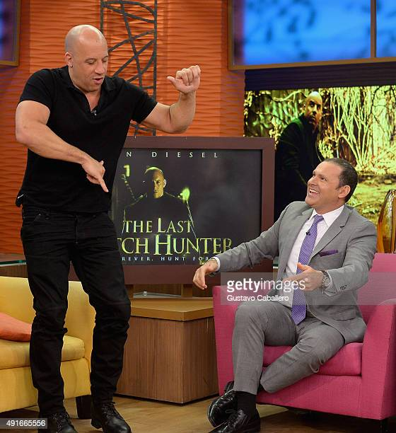 Vin Diesel and Alan Tacher is on the set Of Univisions 'Despierta America' to promote the film 'The Last Witch Hunter'at Univision Studios on October...