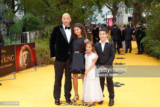 """Vin Diesel and and his children, Hania Riley Sinclair, Vincent Sinclair and Pauline Sinclair attend the European Premiere of """"The Lion King"""" at Odeon..."""