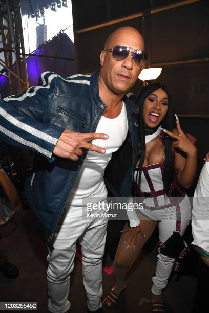 Vin Diesel and Cardi B attend Universal Pictures Presents The Road To F9 Concert and Trailer Drop on January 31, 2020 in Miami, Florida.
