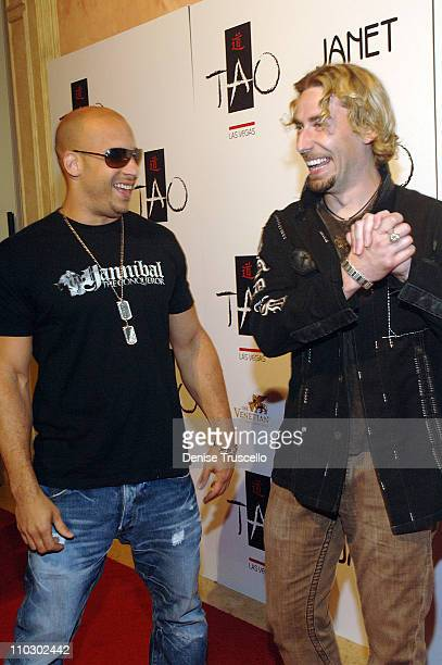 Vin Diesel and Chad Kroeger during TAO Las Vegas First Anniversary Weekend Janet Jackson Album Release Party Red Carpet Arrivals at TAO Las Vegas at...