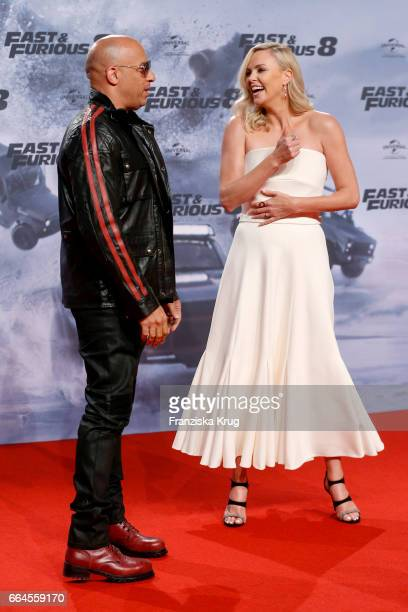 Vin Diesel and Charlize Theron attend the Fast Furious 8 Berlin Premiere at Sony Centre on April 4 2017 in Berlin Germany