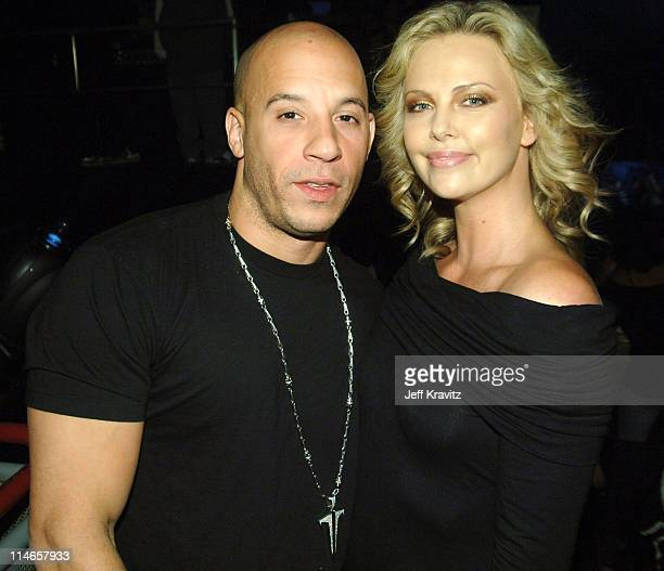 Vin Diesel and Charlize Theron during 2005 Spike TV Video Game Awards Backstage and Audience at Gibson Amphitheater in Universal City California...