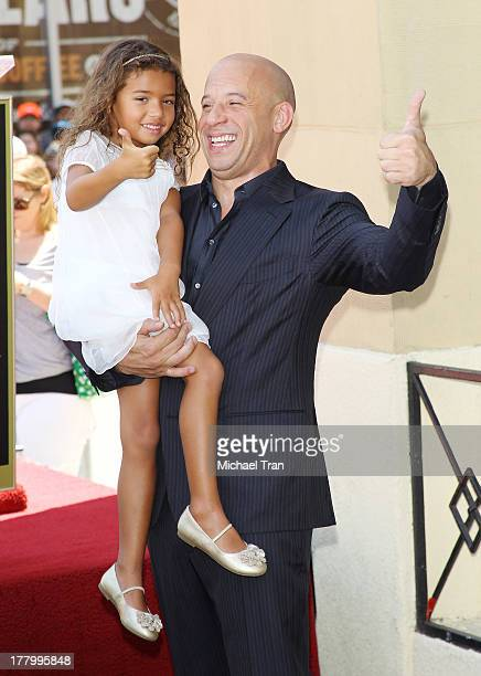 Vin Diesel and daughter Hania Riley attend the ceremony honoring him with a Star on The Hollywood Walk of Fame held on August 26 2013 in Hollywood...