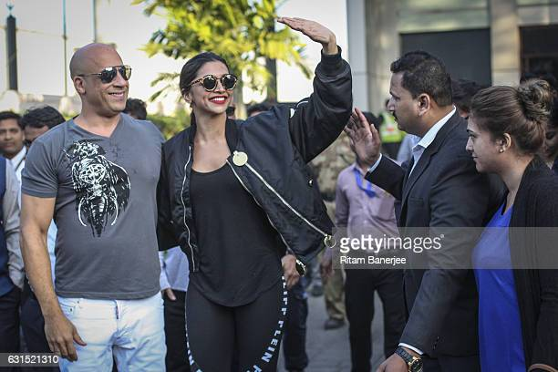 MUMBAI INDIA JANUARY 12 Vin Diesel and Deepika Padukone arrive in Mumbai at Chhatrapati Shivaji Intl Airport for the Paramount Pictures Title xXx on...
