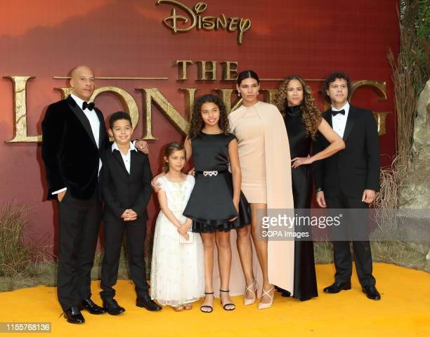 Vin Diesel and family attends the European Premiere of Disney's The Lion King at the Odeon Luxe cinema Leicester Square in London