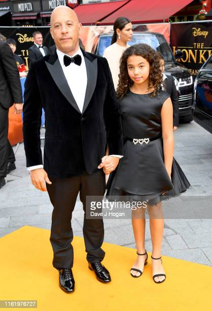 Vin Diesel and Hania Riley Sinclair attend The Lion King European Premiere at Leicester Square on July 14 2019 in London England