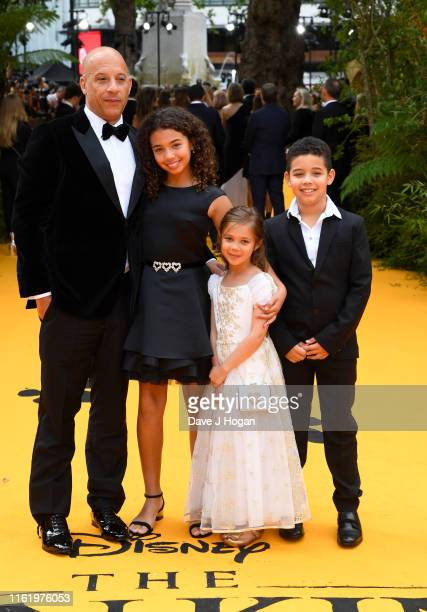 Vin Diesel and his children Hania Riley Sinclair Vincent Sinclair and Pauline Sinclair attend The Lion King European Premiere at Leicester Square on...