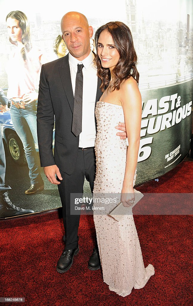 Vin Diesel (L) and Jordana Brewster attend the World Premiere of 'Fast & Furious 6' at Empire Leicester Square on May 7, 2013 in London, England.