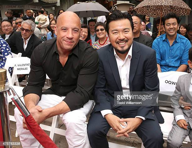 Vin Diesel and Justin Lin attend the 88th Birthday Of TLC Chinese Theater IMAX Honoring Justin Lin Zhao Wei And Huang Xiaoming with Iconic Imprint...