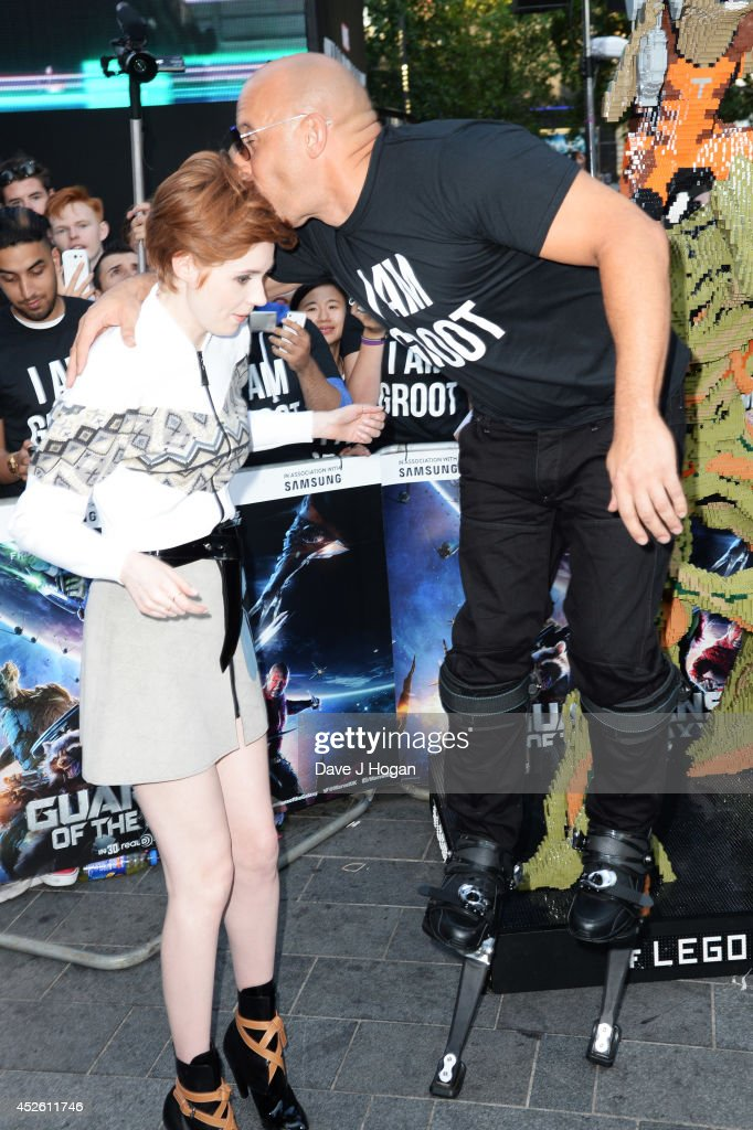 Vin Diesel and Karen Gillan attend the European premiere of 'Guardians Of The Galaxy' at The Empire Leicester Square on July 24, 2014 in London, England.