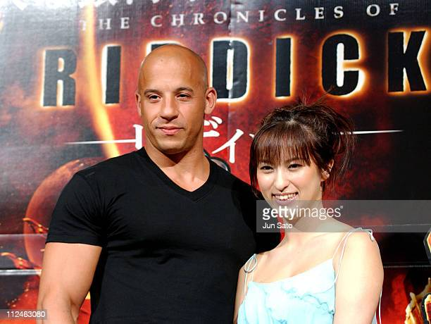 Vin Diesel and Kasumi Nakane during 'The Chronicles of Riddick' Tokyo Press Conference at Park Hyatt Tokyo in Tokyo Japan