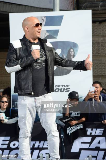 Vin Diesel and Michelle Rodriguez visit Washington Heights on behalf of The Fate Of The Furious on April 11 2017 in New York City