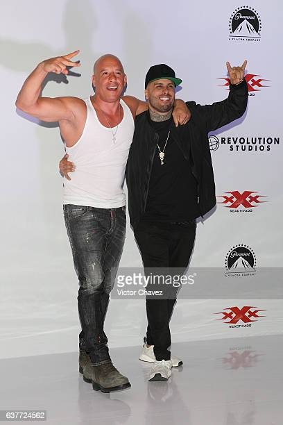 Vin Diesel and Nicky Jam attend a photocall to promote the Paramount Pictures film 'xXx Return of Xander Cage' at St Regis Hotel on January 5 2017 in...