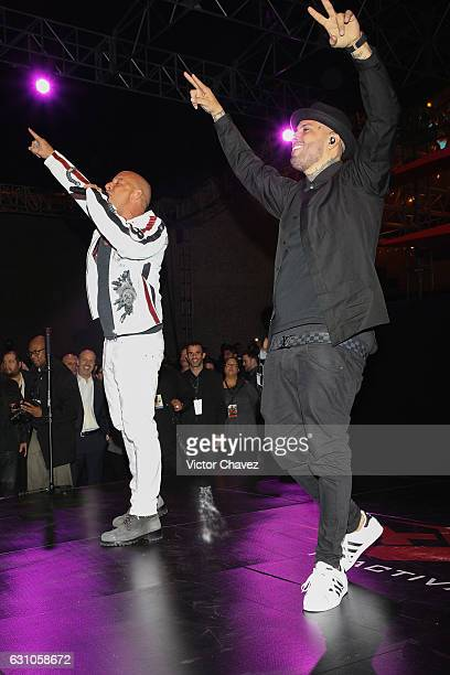 Vin Diesel and Nicky Jam perform during the Paramount Pictures film xXx Return of Xander Cage at Auditorio Nacional on January 5 2017 in Mexico City...
