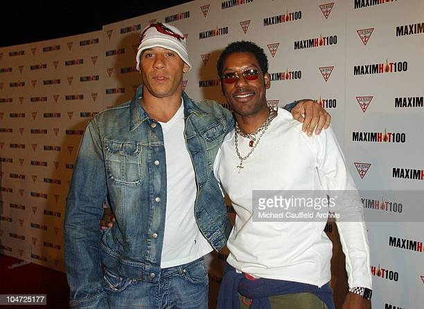 Vin Diesel and Orlando Jones during Maxim Hot 100 Party Arrivals at Yamashiro in Hollywood California United States
