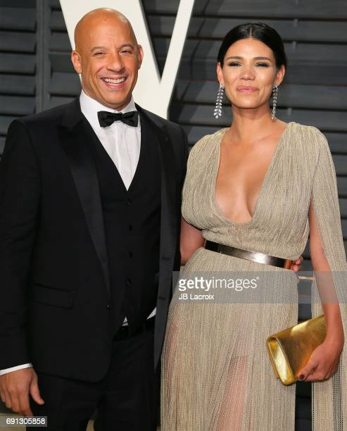 Vin Diesel and Paloma Jimenez attend the 2017 Vanity Fair Oscar Party hosted by Graydon Carter at Wallis Annenberg Center for the Performing Arts on...