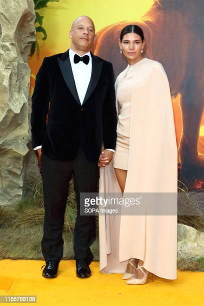 Vin Diesel and Paloma Jimenez attend the European Premiere of Disney's The Lion King at the Odeon Luxe cinema Leicester Square in London