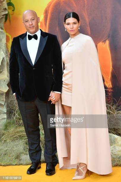 "Vin Diesel and Paloma Jimenez attend ""The Lion King"" European Premiere at Leicester Square on July 14, 2019 in London, England."