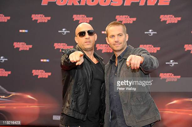 Vin Diesel and Paul Walker attend the 'Fast & Furious 5' Germany Premiere on April 27, 2011 in Cologne, Germany.